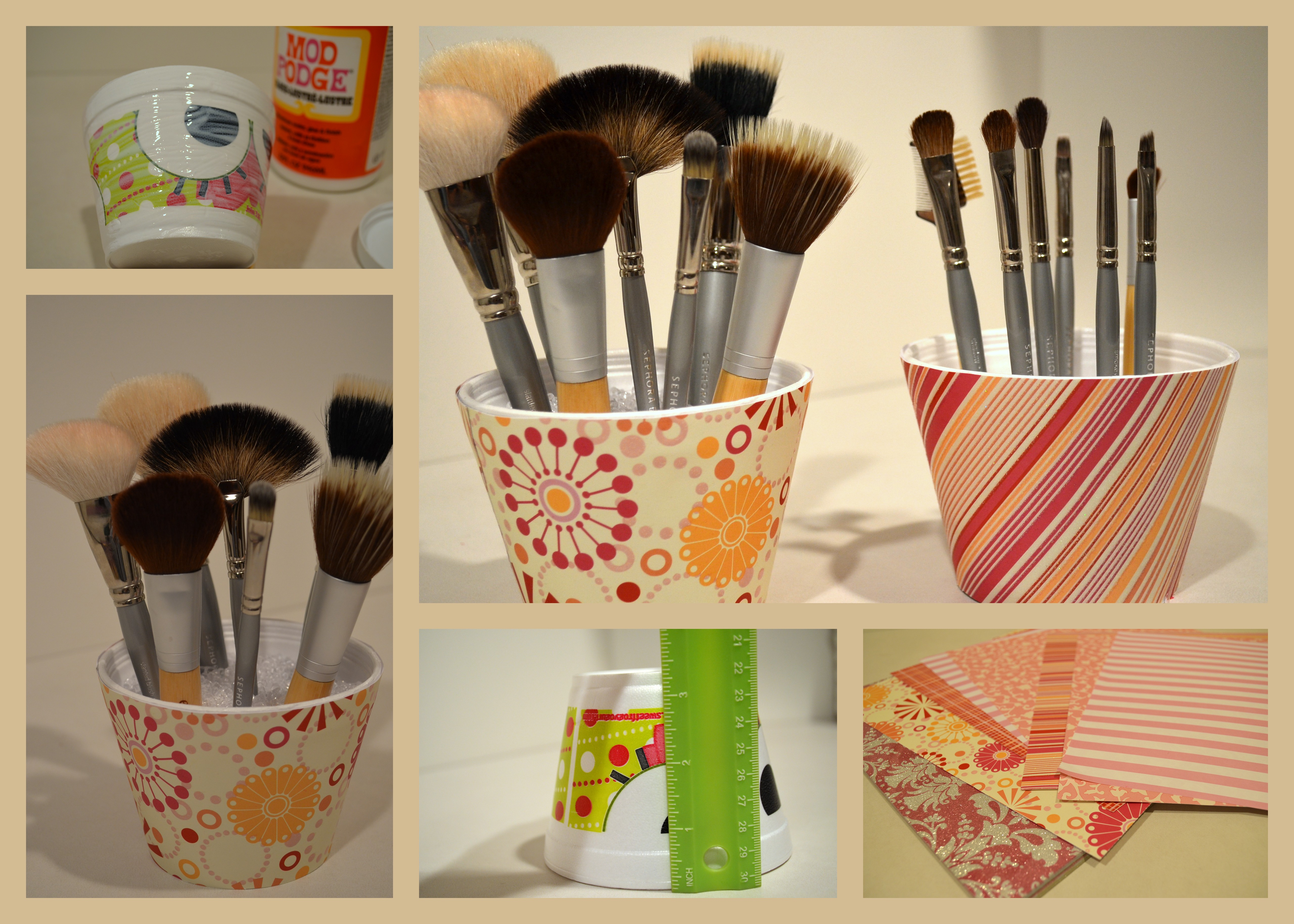 DIY Makeup Brush Holder - Mikella's Closet