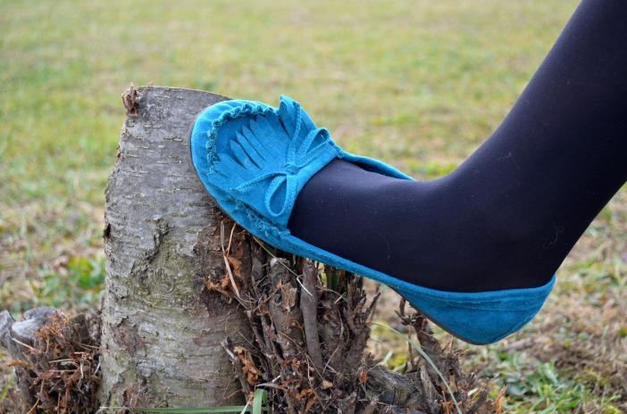 blue suede moccasins