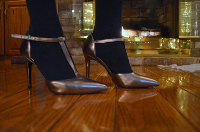 metallic t-strap stilettos