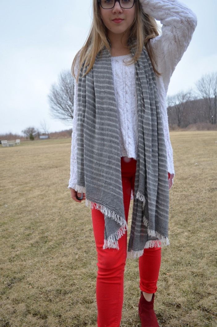oversized scarf outfit