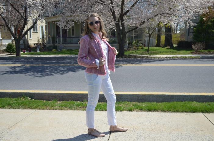 tweed jacket white pants