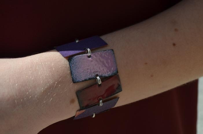 copper enameled bracelet